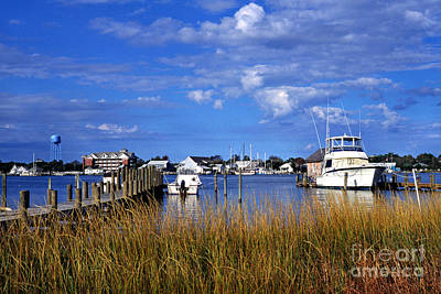 Fishing Boats At Dock Ocracoke Island Art Print