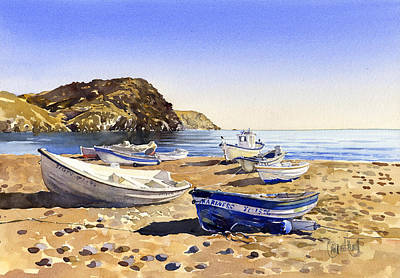 Fishing Boats At Las Negras Print by Margaret Merry