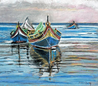 Boat Harbour Wall Art - Painting - Fishing Boats At Rest by Callan Art