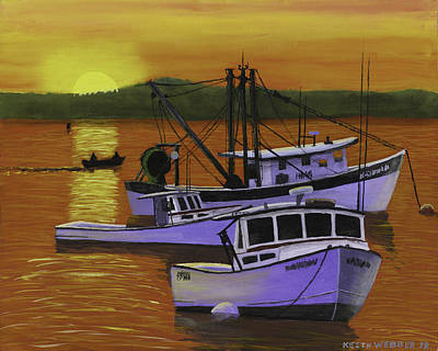 Lobster Boat Maine Painting - Fishing Boats At Sunset by Keith Webber Jr