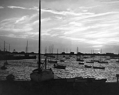 Large Group Of Objects Photograph - Fishing Boats At Sunset by Underwood Archives