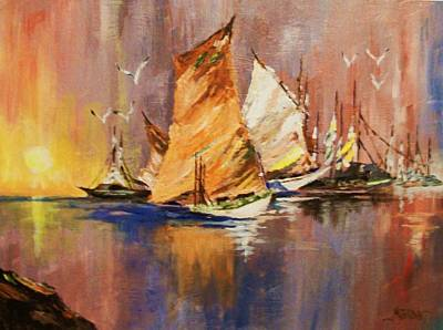 Art Print featuring the painting Fishing Boats At Sunup by Al Brown