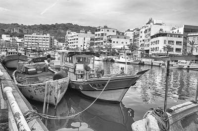 Fishing Boats B W Art Print