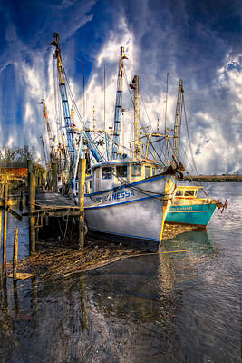Florida Bridge Photograph - Fishing Boats by Debra and Dave Vanderlaan