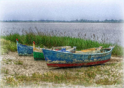 Print featuring the photograph Fishing Boats by Hanny Heim