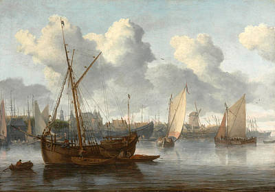 Boats In Harbor Painting - Fishing Boats In A Harbor by Allaert van Everdingen