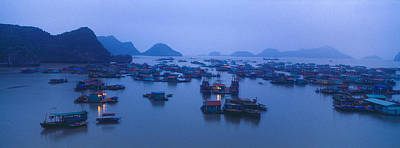 Hanoi Photograph - Fishing Boats In A Lake, West Lake by Panoramic Images
