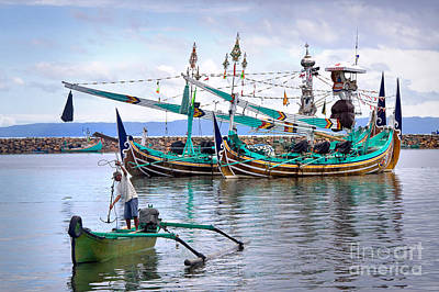 Fishing Boats In Bali Art Print by Louise Heusinkveld
