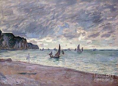 Fishing Boats In Front Of The Beach And Cliffs Of Pourville Art Print by Claude Monet