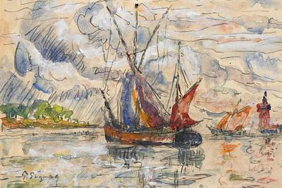 Etching Painting - Fishing Boats In La Rochelle by Paul Signac