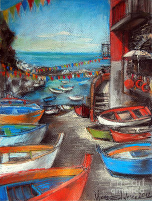 Waving Flag Pastel - Fishing Boats In Riomaggiore by Mona Edulesco