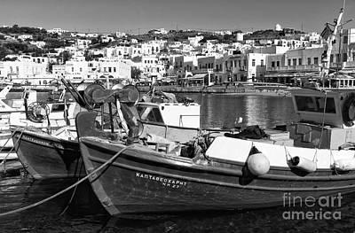Fishing Boats In The Mykonos Harbor Mono Original by John Rizzuto