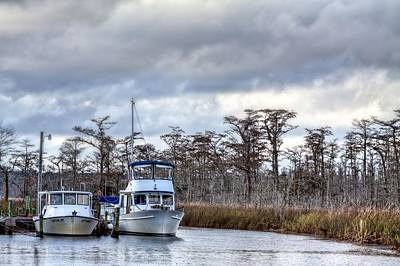 Cypress Swamp Photograph - Fishing Boats by JC Findley
