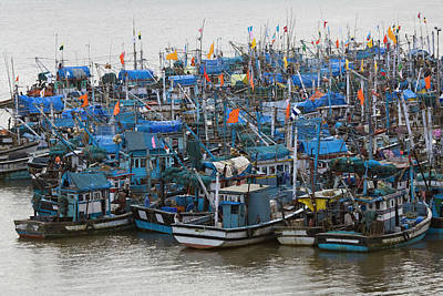 Goa Photograph - Fishing Boats Moored By The Village by Keren Su