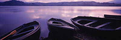 Fishing Boats Moored In A Lake, Loch Art Print