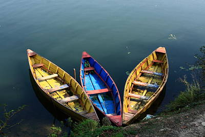 Fishing Boats - Nepal Art Print by Aidan Moran