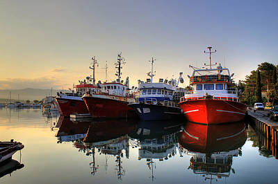 Photograph - Fishing Boats On Early Morning On Calm Sea by Brch Photography