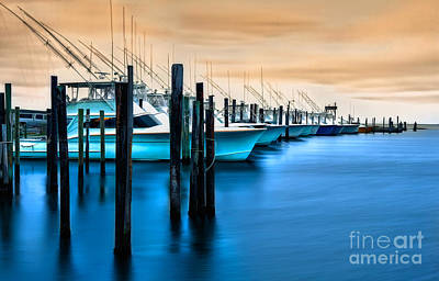 Oregon Inlet Photograph - Fishing Boats On Glass I - Outer Banks by Dan Carmichael