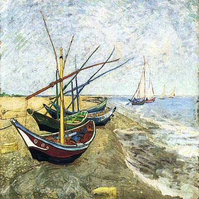 Painting - Fishing Boats On The Beach by Florene Welebny