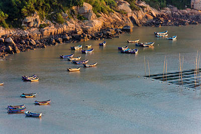 China Beach Photograph - Fishing Boats On The Muddy Beach by Keren Su