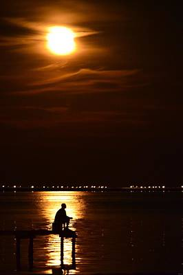 Photograph - Fishing By Moonlight01 by Jeff at JSJ Photography