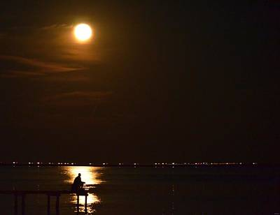 Photograph - Fishing By Moonlight12 by Jeff at JSJ Photography