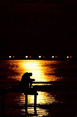 Photograph - Fishing By Moonlight14 by Jeff at JSJ Photography