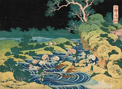 Fishing By Torchlight In Kai Province Art Print by Katsushika Hokusai