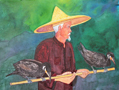Painting - Fishing Cormorants by Patricia Beebe