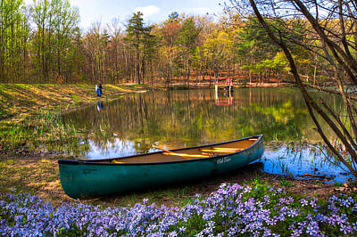 Landscape Mountain Trees Fisherman Photograph - Fishing by Debra and Dave Vanderlaan