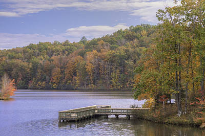Photograph - Fishing  Dock And Fall Color by David Waldrop