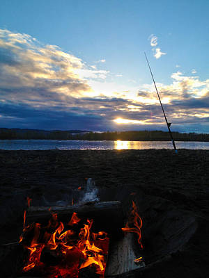 Photograph - Fishing Fire by Sara Stevenson