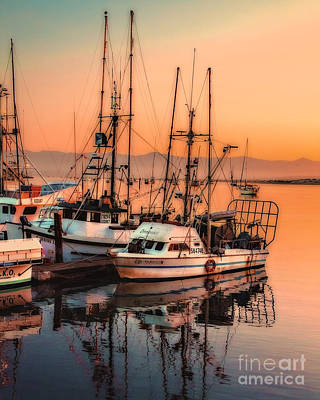Photograph - Fishing Fleet Sunset Boat Reflection At Fishermans Wharf Morro Bay California by Jerry Cowart