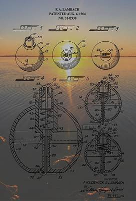 Gears Mixed Media - Fishing Float Patent Sunrise by Dan Sproul