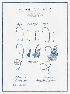 Fishing Fly Patent Drawing From 1892 - Blue Ink Art Print by Aged Pixel