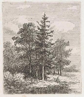 Fishing For A Group Of Trees, Johannes Pieter Van Wisselingh Art Print