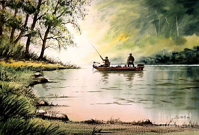 Drifting Painting - Fishing For Bass - Greenbrier River by Bill Holkham