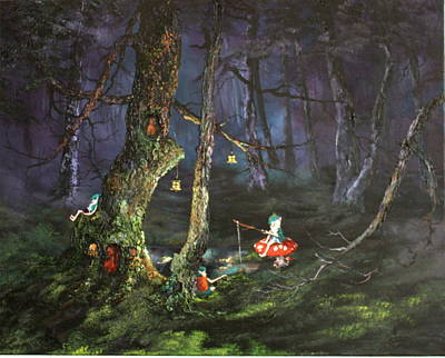 Toadstools Painting - Fishing For Supper On Cannock Chase by Jean Walker