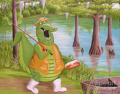 Painting - Fishing Gator by Valerie Carpenter