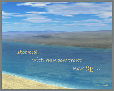 Digital Art - Fishing Haiga by Judi Suni Hall