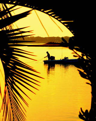 Wrightsville Beach Photograph - Fishing In Gold by Karen Wiles