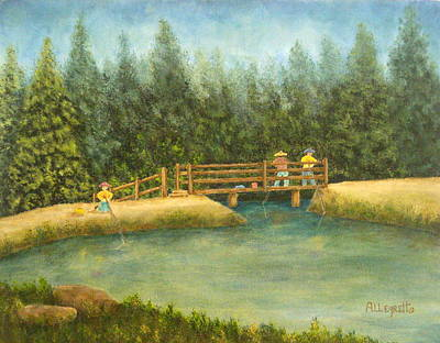 Warm Colors Painting - Fishing In New England by Pamela Allegretto