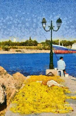 Painting - Fishing In Spetses Island by George Atsametakis