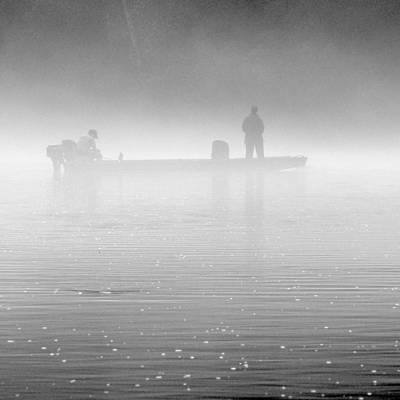 Fishing In The Fog Art Print