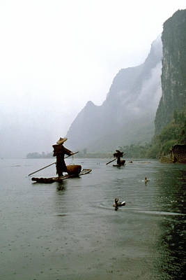 Fishing In The Rain With Cormorants Art Print