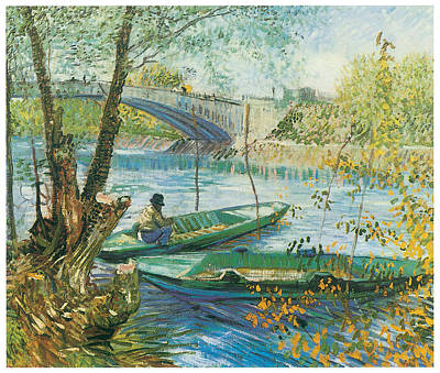 Fishing From Boat Painting - Fishing In The Spring Pont De Clichy by Vincent Van Gogh