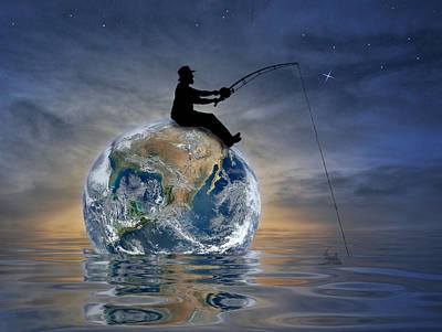 Art Print featuring the digital art Fishing Is My World by Nina Bradica