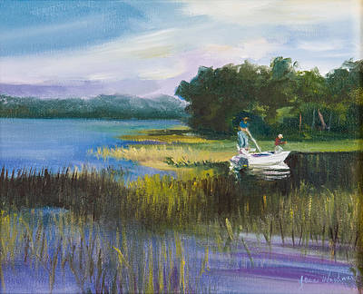 Low Country Wall Art - Painting - Fishing by Jane Woodward