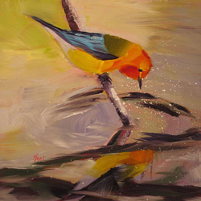 Warbler Painting - Fishing by Kari Melen