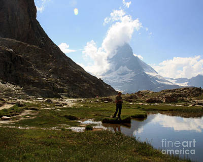 Fishing Lake Matterhorn Art Print by Juan Romagosa